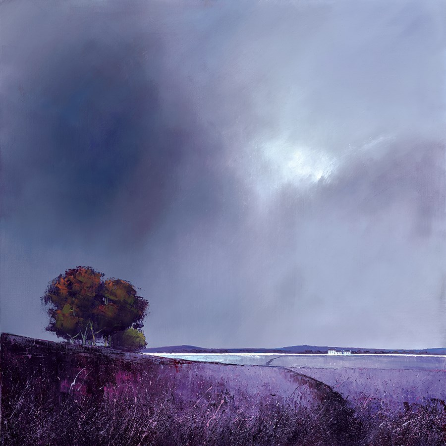 Lavender Skies by Barry Hilton - Hand Finished Canvas on Board sized 16x16 inches. Available from Whitewall Galleries
